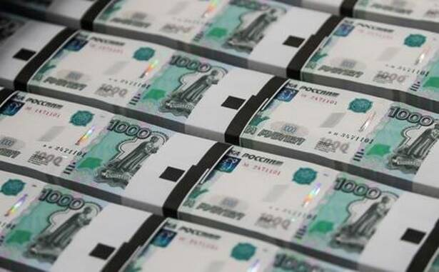 Packs of 1000 Russian Roubles notes are pictured at Goznak