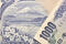 detailed image of mount Fuji and front number from original Japanese 1000 Yen banknote