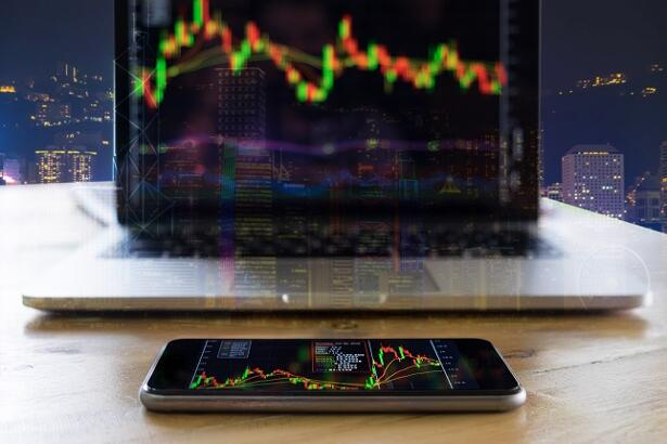 Stock market chart, Stock market data on smartphone display conc