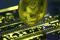 Imagen de archivo. Representación de la moneda virutual ether sobre la placa madre de un PC