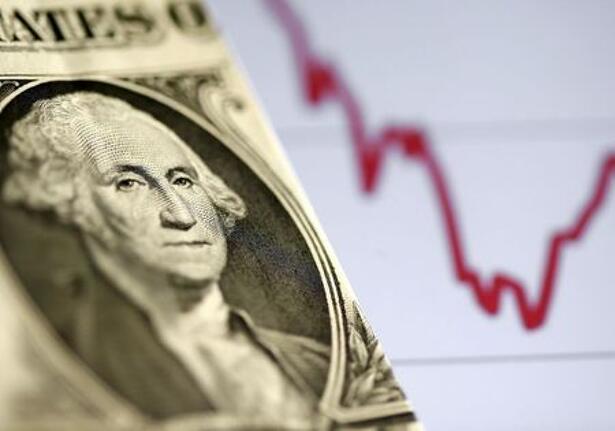 Ilustración con un billete de dólar estadounidense ante un gráfico bursátil