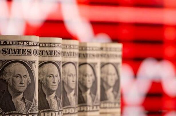 Ilustración con billetes de un dólar estadounidense ante un gráfico de acciones