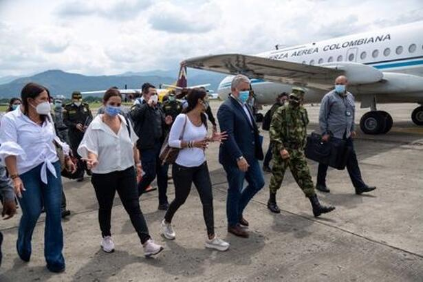 Colombia's President Ivan Duque arrives in Cali to lead a working meeting on security matters and to review progress on social issues, in Cali