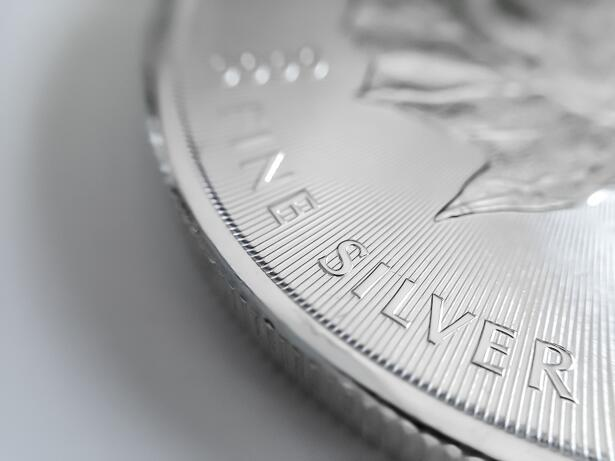 Macro close up of a pure Silver Bullion coin