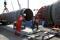 Arbeiter auf der Baustelle der Nord Stream 2-Gaspipeline in