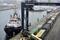 Container an einem Verladeterminal im Hafen von Kiel, Deutschland,