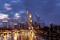 Die Skyline während eines Sonnenuntergangs, Frankfurt, Deutschland,18. April 2021.