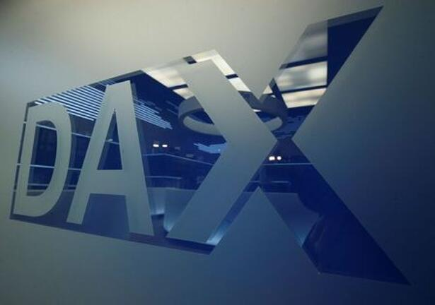 A DAX logo is pictured at the trading floor of